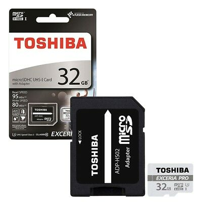 32GB Toshiba Exceria PRO Micro SDHC Memory Card 95MB/s with SD Card Adapter 32GB