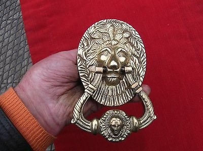 Vintage Large Heavy Brass Lion & Face Portrait Door Knocker/unused Lion Knocker
