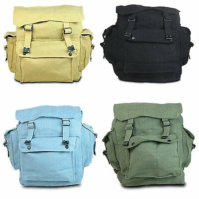 New Large Retro Web Fishing Military Canvas Backpack Rucksack Bag