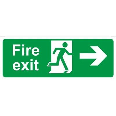 Fire Exit Arrow Right Self Adhesive Vinyl 400mm x 150mm - Castle Promotions
