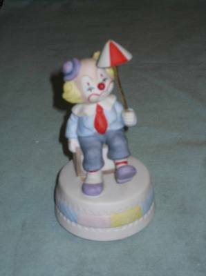 Older Circus Clown Music Box Bisque Porcelain By Lefton Tune Be A Clown Nice