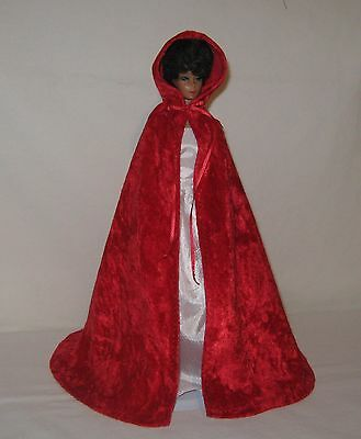 """Handmade Red Panne Barbie or 11 1/2"""" Doll Cape"""