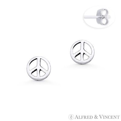 Peace Sign 6.5mm Charm Hippie Symbol Oxidized 925 Sterling Silver Stud Earrings
