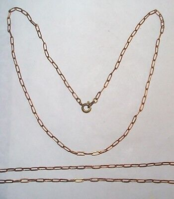 Vintage Solid Brass Wide Link Drawn Chain Finished With Clasp 15 ½ Inches 5 Pcs