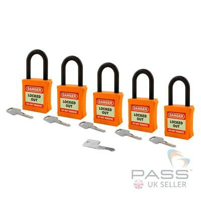 Lockout Fully Insulated Nylon Padlock - Key Different + Master - 5 Pack (Orange)