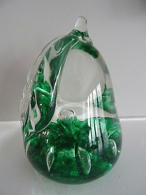 1973 St. Clair Art Glass Green Flower PEAR SHAPED Paperweight Controlled Bubble