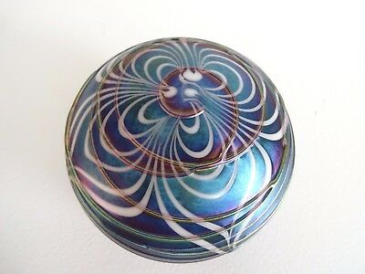 1987 Signed TERRY CRIDER Art Glass Pulled Feather Paperweight AURENE Iridescent