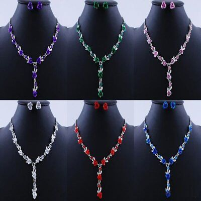 Valentines Rose Flower Crystal Necklace Earrings Wedding Jewelry Set Couple Gift