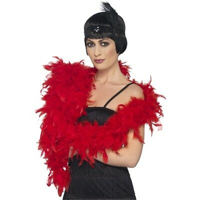 Smiffy's 80 G Boa Deluxe - Red - Feather Costume 80 Fancy Dress Accessory