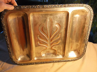 "Vintage Silver Plate Meat Serving Tray Heavy Copper 20"" x 16"" Ornate Trim"