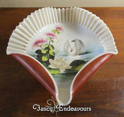 Antique Victorian Hand Painted Ruffled Art Glass Compote Swan on Lake Water Lily