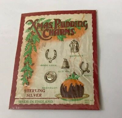 Vintage Card Set Of 5 Solid Sterling Silver Christmas Pudding Charms Unopened