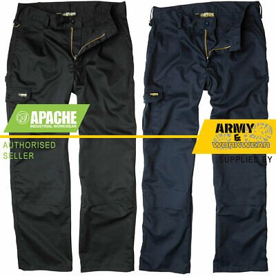Apache Industry Pro Work Mens Pants Trousers Tuff Cargo Combat Knee Pad Pockets