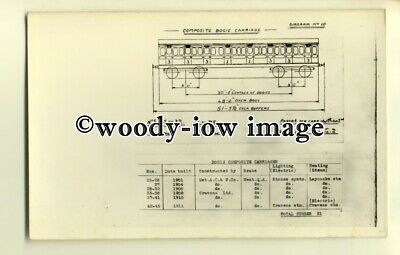 ry1037 - Diagram No.10, of Bogie Composite Carriages built 1901-1911 - postcard