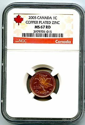 2005 Canada Cent Ngc Ms67 Rd Non Magnetic Zinc Highest Grade Issue Top Pop=34