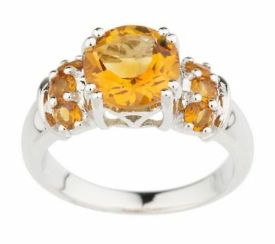 Choice Of Sterling Silver Round Citrine 1.85 Ct Gemstone Ring Size 7 Qvc