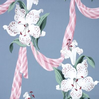 1940s Floral Vintage Wallpaper White Lilies on Blue with Pink Ribbons