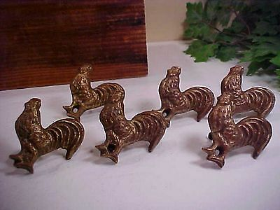 Tenderheart Treasures Set 6 Cast Iron Rustic Rooster Decorative Knobs/Pulls NEW