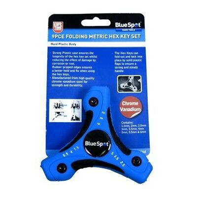 Blue Spot 15368 Folding Metric Hex Key Set (9 Pieces) - 9pce 15mm 6mm Allen