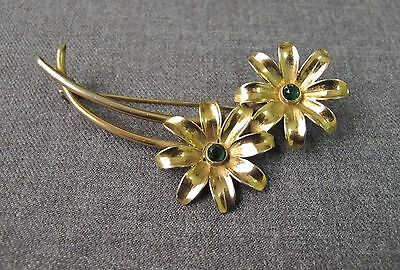 Vintage 40's Jeweled Green Crystals Gold Plated Flowers Large Pin