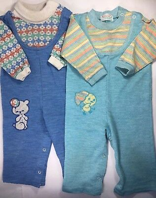 2 Vintage Boys Blue Rompers Outfits Clothes Lot Health-tex Bear Duck 18 mos USA