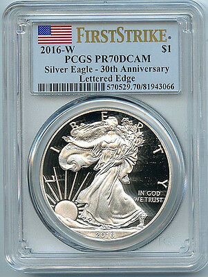 2016 W  Proof Silver American Eagle Dollar PCGS PR70 Coin First Strike Flag 30th