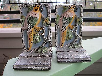 Antique Original Hubley Painted Cast Iron Parrot On A Branch Bookends