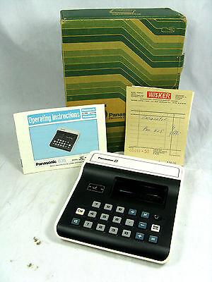 Vintage desk top calculator PANASONIC JE - 835 U + manual , box  & bill  working