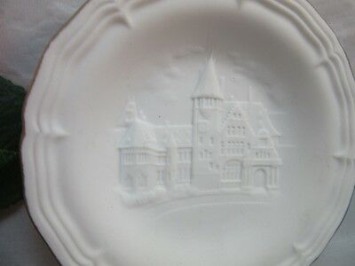 Vtg white bisque porcelain Hochst Germany small plate. German Villa