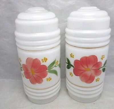 Pair of white, hand painted glass light shades. Red flower