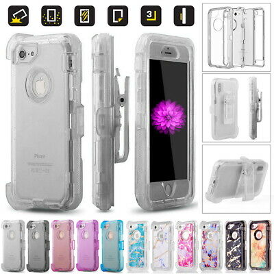Rugged Heavy Duty Transparent Cover Case For iPhone, Fits Otterbox Defender Clip