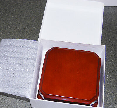 "Vintage JEWELERS TOUCH Square 4"" PEAR WOOD lacquered jewelry necklace BOX NEW"