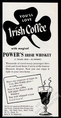 1955 Power's Irish Whiskey Irish coffee recipe and art vintage print ad