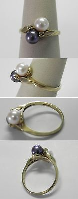 C616 Estate 10K Solid Yellow Gold Pearl Bypass Ring, Size 6