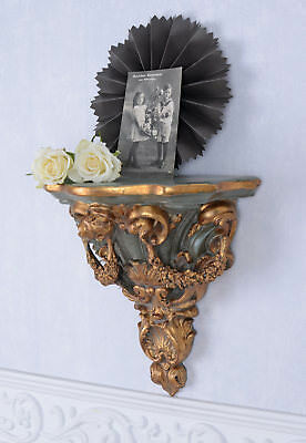 Wall Console Baroque Style Table Antique Gold Filing Cabinet Shelf Palazzo