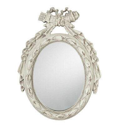 Wall Mirror Oval Mirror Shabby Chic Table Mirror White Brocade Standing Mirror