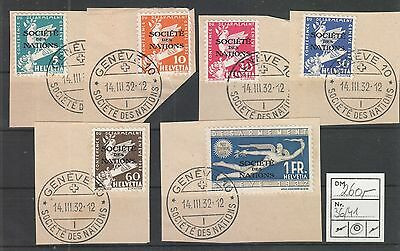 Schweiz Internationale Ämter (SDN) Mi. 36-41 a. Bfst. (ME 130,-€)  #5596