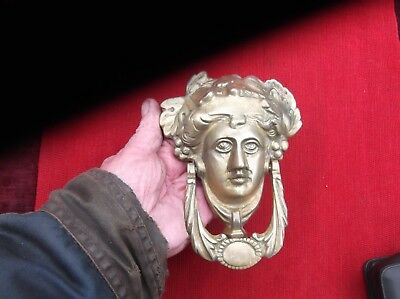 Large Heavy Brass Antique Grecian Godess Door Knocker/roman Face Door Striker