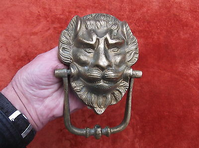 Vintage Large Heavy Brass Lion Door Knocker/ Brass Green Man Door Striker