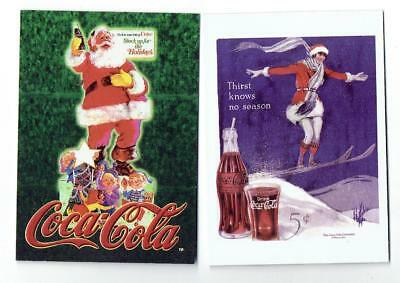 COCA COLA COLLECTION ~ Two Trading Cards featuring Santa Claus ~ FREE SHIPPING