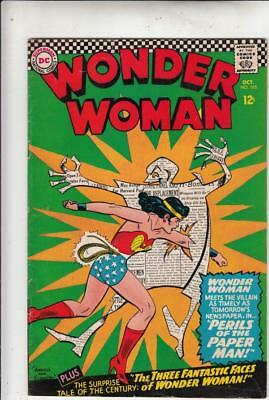 Wonder Woman # 165 strict FN/VF- 1st   appearance The Paper Man!