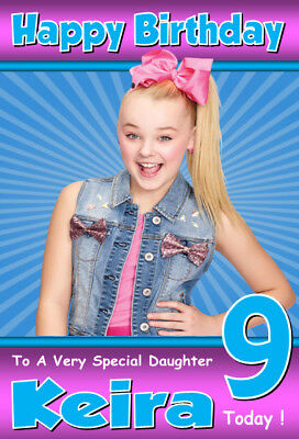 JoJo Siwa Personalised Birthday Card! ANY NAME / AGE / RELATION A5 SIZE! 2