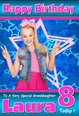 JoJo Siwa Personalised Birthday Card! ANY NAME / AGE / RELATION A5 SIZE! 3