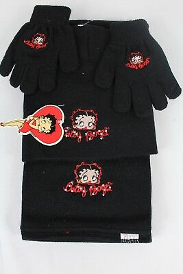 Betty Boop Junior Womens 3-Piece Winter Set-Magic Glove,Beanie Hat, Scarf - NEW
