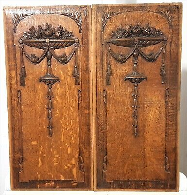 "Hand Carved Wood Panel Pair 24"" Antique French Bow Roses Flower Salvaged Carving"