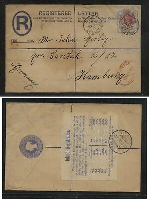 Great  Britain  120  on registered  cover  to Germany  1892           KL1105
