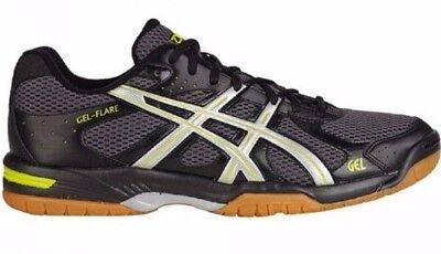 Mens Black ASICS Gel Flare 4 Indoor court Badminton Squash Trainers Shoes Size