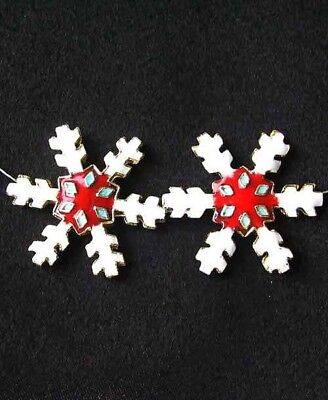 TWO Red CLOISONNE Snowflake CENTERPIECE Beads 8638E