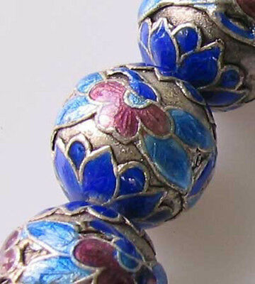 FLOWERS! 1 SILVER CLOISONNE 15mm Round BEAD 10592