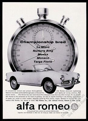 1962 Alfa Romeo convertible car and stop watch photo vintage print ad